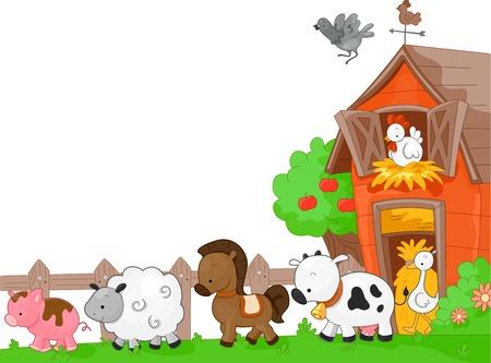 Illustration of Farm Animals walking to the left Stock Illustration - 9670327