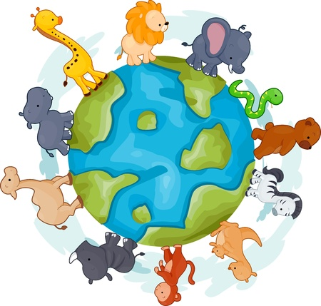 Illustration of Animals Walking Around a Globe illustration