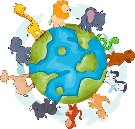 Illustration of Animals Walking Around a Globe illustration