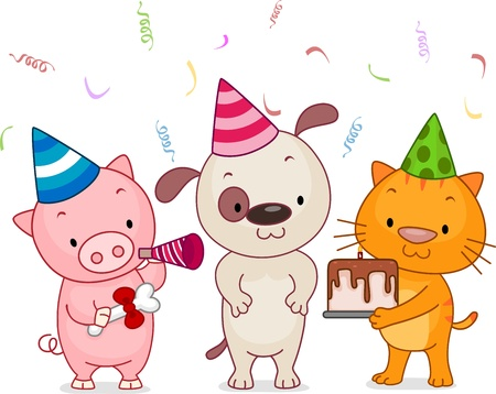 Illustration of Animals Having a Birthday Party illustration