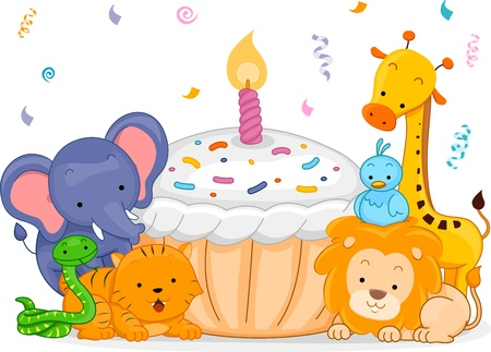 party animals: Illustration of Jungle Animals Having a Birthday Party