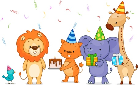 Illustration of Jungle Animals Handing Presents to the Celebrant illustration