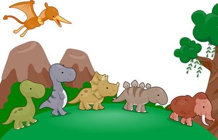 Illustration of Dinosaurs Parading Around illustration