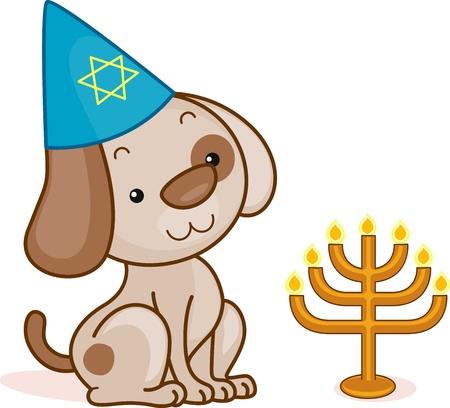 candelabrum: Illustration of a Dog Celebrating Passover Stock Photo