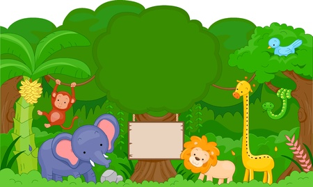 Illustration of Cute Jungle Animals with blank board Stock Illustration - 9670323