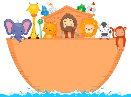 aboard: Illustration of Animals Aboard Noahs Ark with space for text Stock Photo