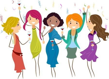 girls night out: Illustration of Women at a Bachelorette Party Stock Photo