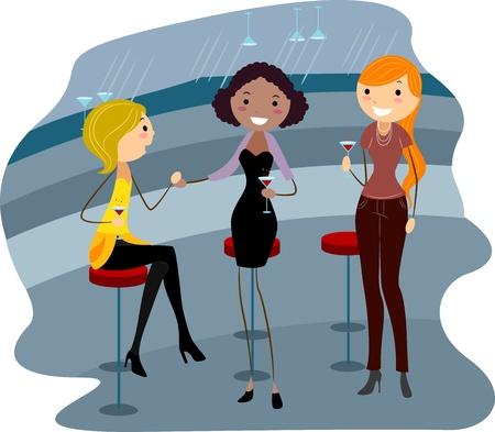 Illustration of Women Relaxing in a Bar illustration