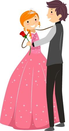 debutante: Illustration of a Dancing Debutante