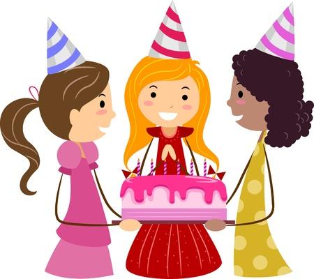 teenage girl: Illustration of Girls Presenting a Birthday Cake to the Celebrant Stock Photo
