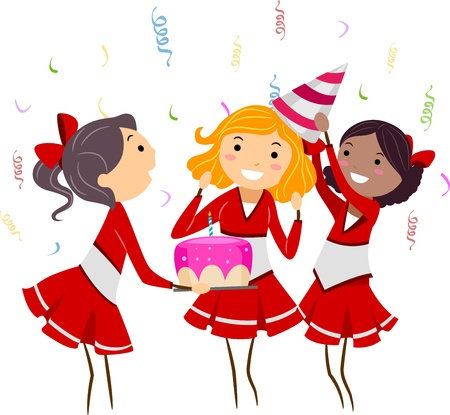 Illustration of a Group of Cheerleaders Celebrating a Party illustration