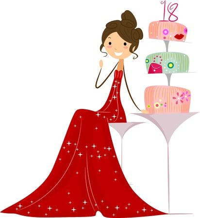 debutante: Illustration of a Debutante Sitting Next to Her Cake