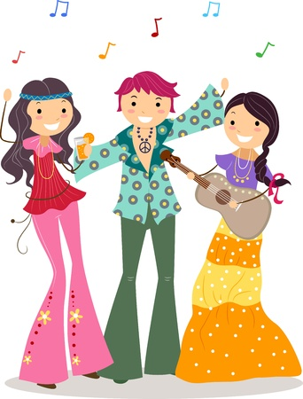 Illustration of a Party with a Hippie Theme illustration