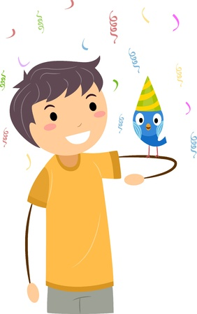 bash: Illustration of a Boy Celebrating the Birthday of His Pet