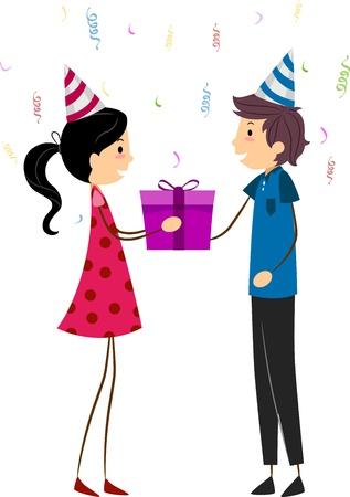 Illustration of a Girl Handing a Gift to the Celebrant Stock Illustration - 9707205
