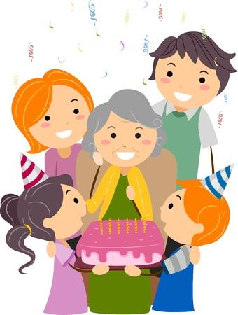 Illustration of a Grandmother Celebrating Her Birthday illustration