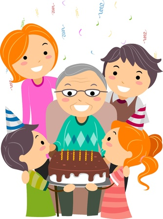Illustration of a Grandfather Celebrating His Birthday illustration