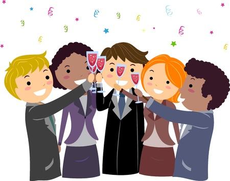 entrepreneurs: Illustration of Entrepreneurs Having a Toast