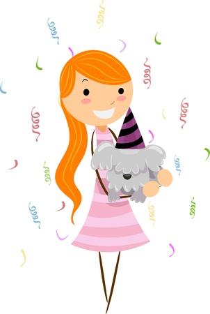 Illustration of a Girl Celebrating the Birthday of Her Dog illustration
