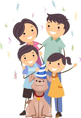 Illustration of a Family Celebrating the Birthday of Their Dog illustration