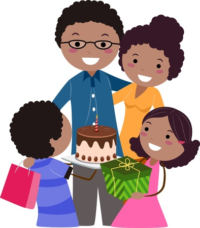 Illustration of a Family Celebrating Father's Day Stock Illustration - 9707244