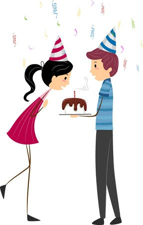 Illustration of a Girl Blowing Her Birthday Candles illustration