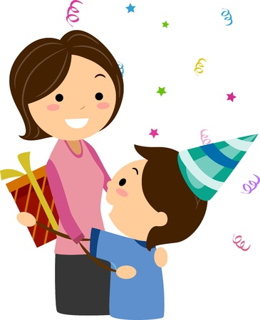 handing: Illustration of a Boy Handing His Mother a Gift