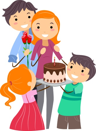 Illustration of a Family Celebrating Mothers Day illustration