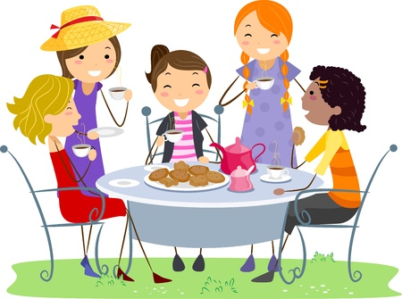 Illustration of Ladies Having a Tea Party illustration