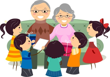 grandpa and grandma: Illustration of Kids Presenting Gifts to Their Grandparents