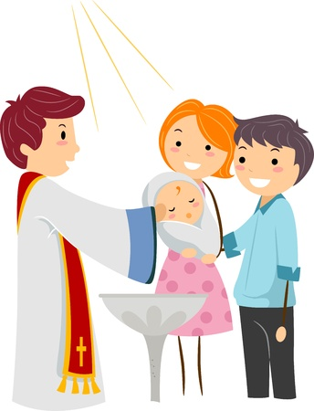 rite: Illustration of a Priest Baptizing a Child Stock Photo