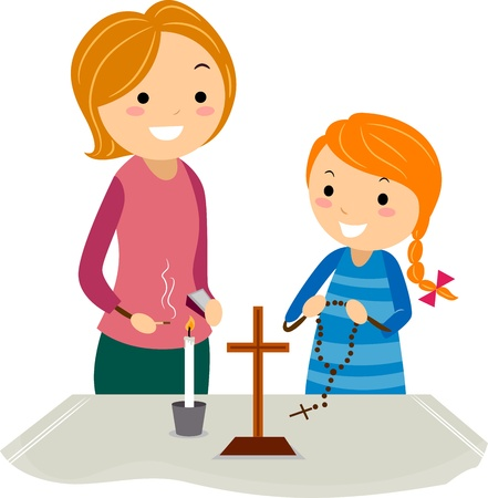 altar: Illustration of a Mother and Daughter Standing Near an Altar