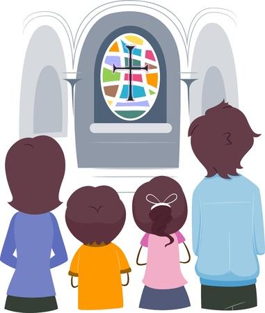 familia orando: Ilustraci�n de una familia cristiana orar juntos Foto de archivo