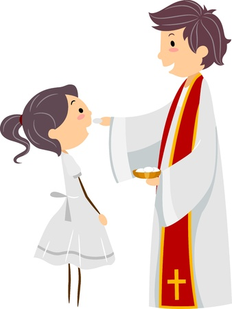 rite: Illustration of a Girl Participating in the Holy Communion