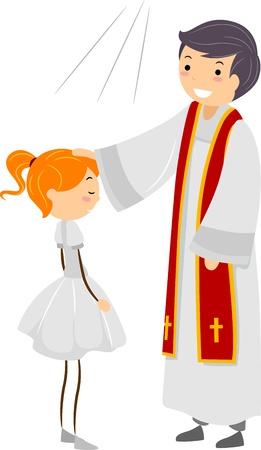 confirmacion: Ilustraci�n de una chica pasando por ritos de confirmaci�n
