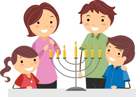 Illustration of a Family Celebrating Hanukkah Stock Illustration - 9707238