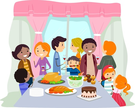 acquaint: Illustration of a Housewarming Party Stock Photo