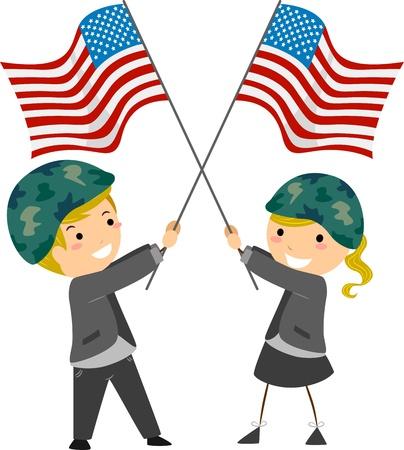 Illustration of Kids Waving US Flags illustration
