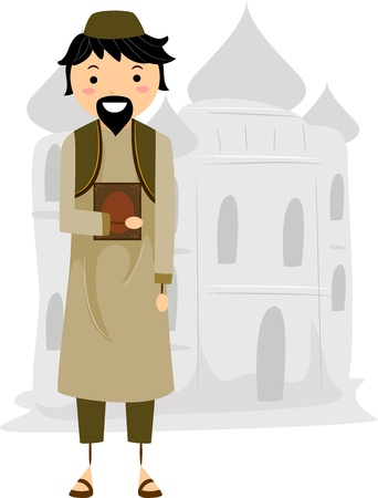 Illustration of a Muslim Near a Mosque illustration