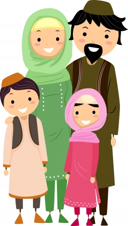 Illustration of a Muslim Family illustration