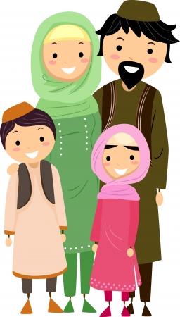 Illustration of a Muslim Family Stock Illustration - 9707217
