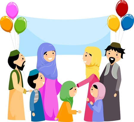 al: Illustration of Muslims Celebrating Eid al Fitr