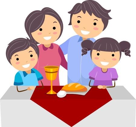 family illustration: Illustration of a Family Celebrating Passover Stock Photo