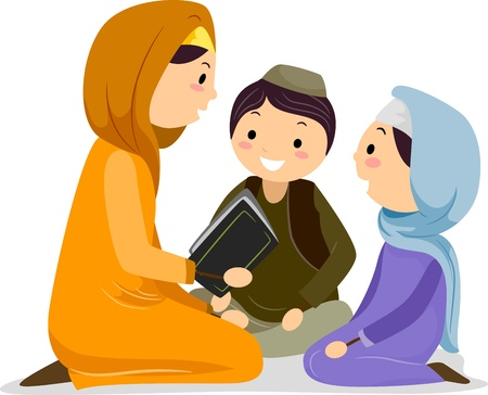 Illustration of a Woman Reading the Koran for the Children illustration