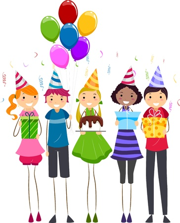 Illustration of a Group of Teens Handing Out Birthday Gifts Stock Illustration - 9707267