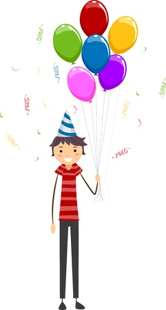 Illustration of a Guy Holding Birthday Balloons Stock Illustration - 9707184