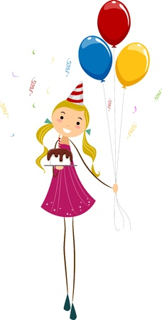 Illustration of a Girl Holding Birthday Balloons and a Cake Stock Illustration - 9707186