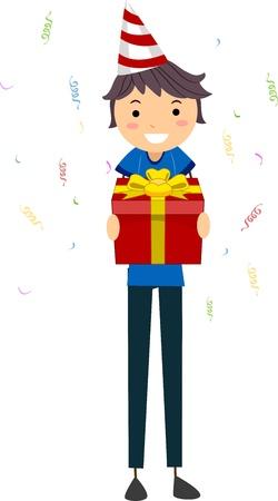 Illustration of a Guy Holding a Birthday Gift Stock Illustration - 9707182