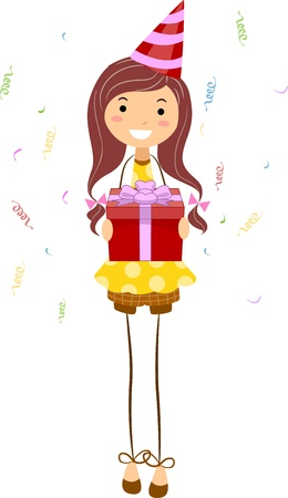 Illustration of a Girl Holding a Birthday Gift Stock Illustration - 9707194
