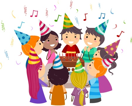 Illustration of Kids Gathered Around a Birthday Cake illustration